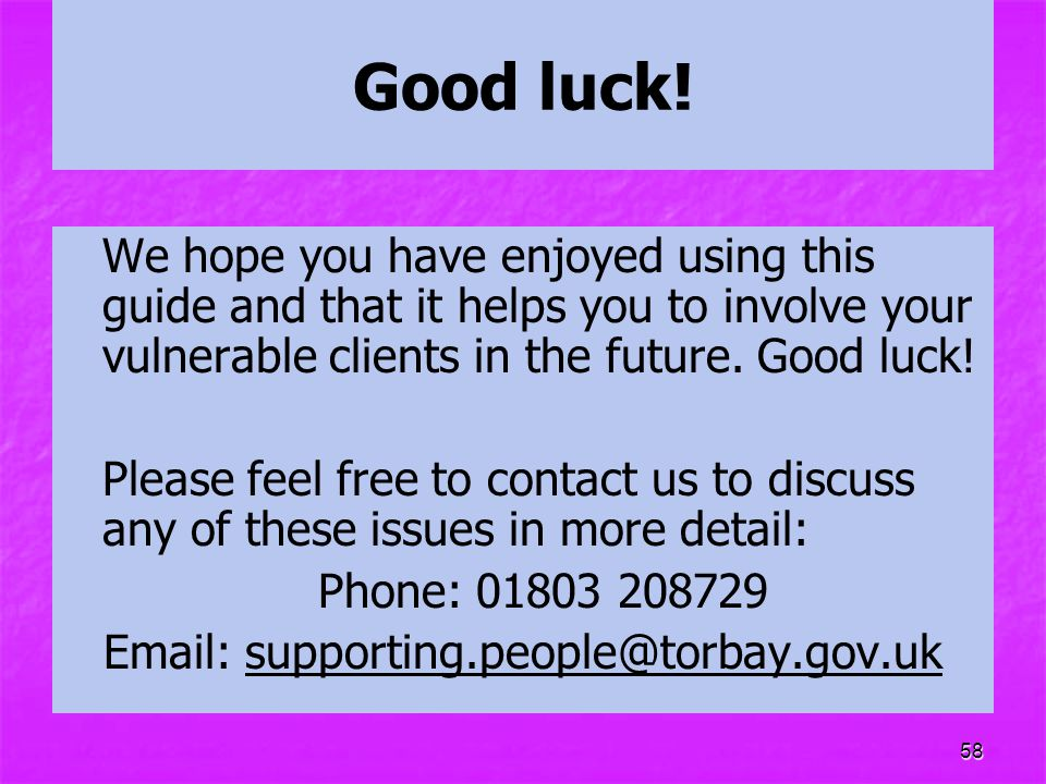 Email: supporting.people@torbay.gov.uk
