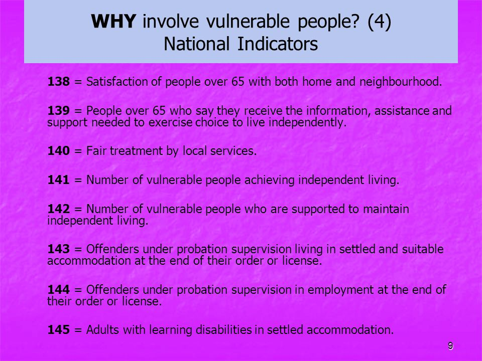 WHY involve vulnerable people (4) National Indicators