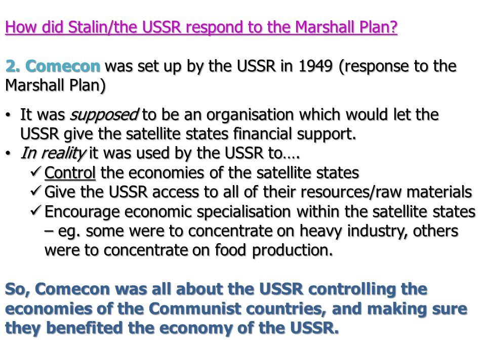 How did Stalin/the USSR respond to the Marshall Plan