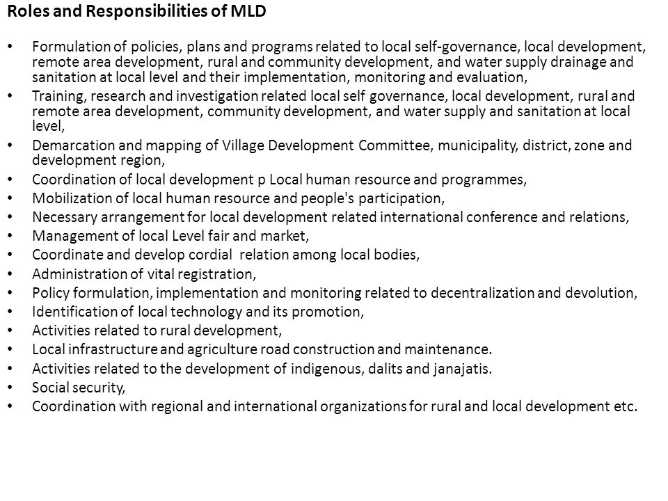 Roles and Responsibilities of MLD