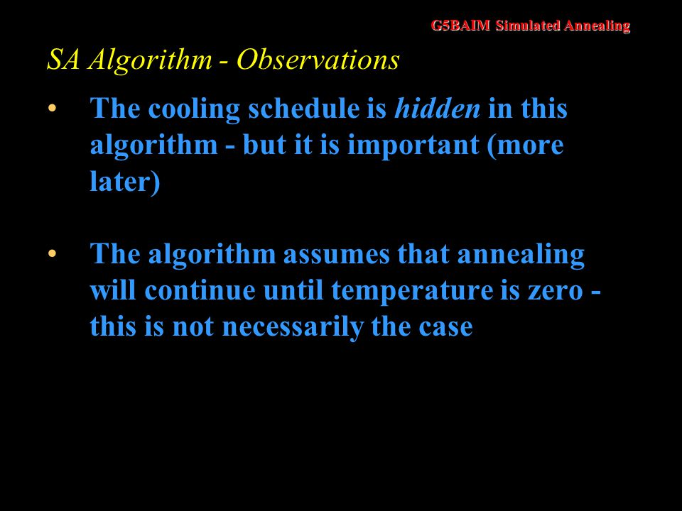 SA Algorithm - Observations