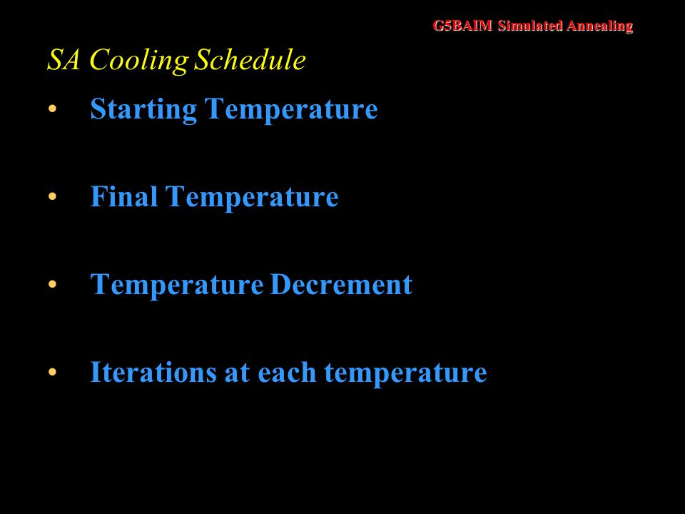 SA Cooling Schedule Starting Temperature. Final Temperature.