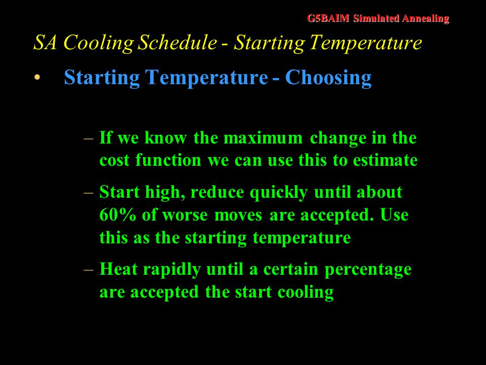 SA Cooling Schedule - Starting Temperature