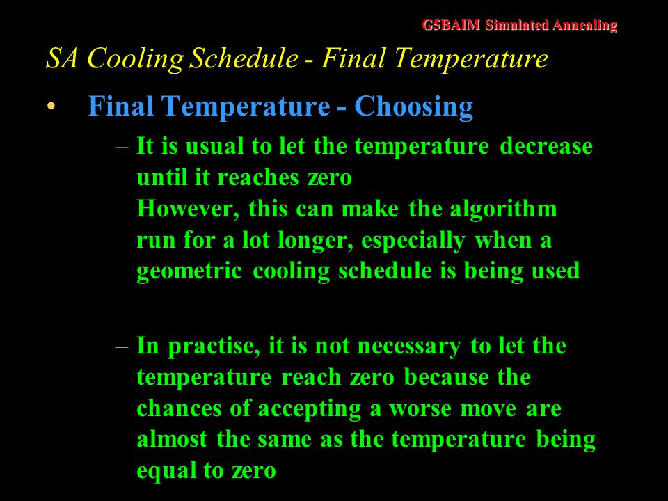 SA Cooling Schedule - Final Temperature