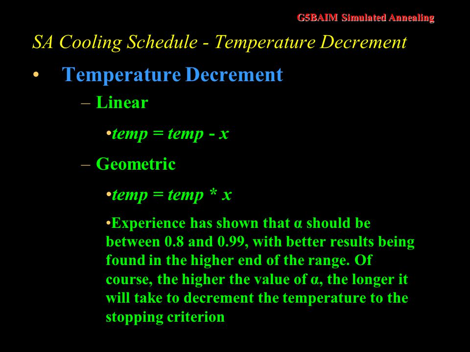 SA Cooling Schedule - Temperature Decrement