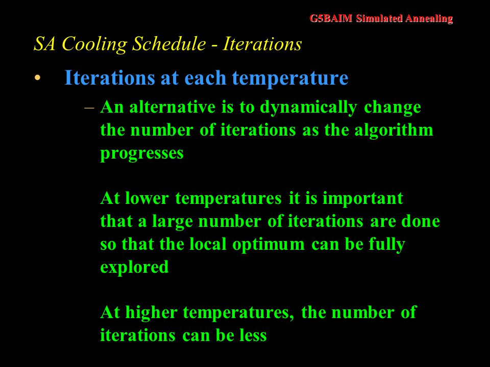 SA Cooling Schedule - Iterations