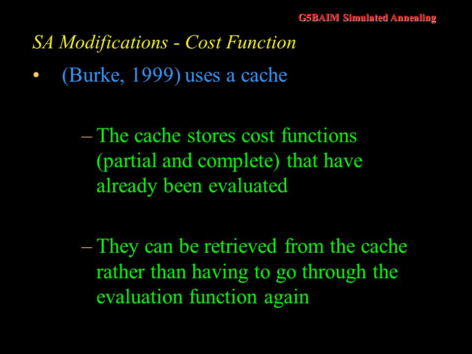 SA Modifications - Cost Function