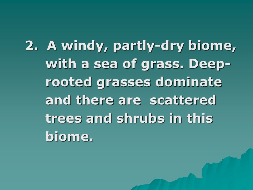 2. A windy, partly-dry biome,