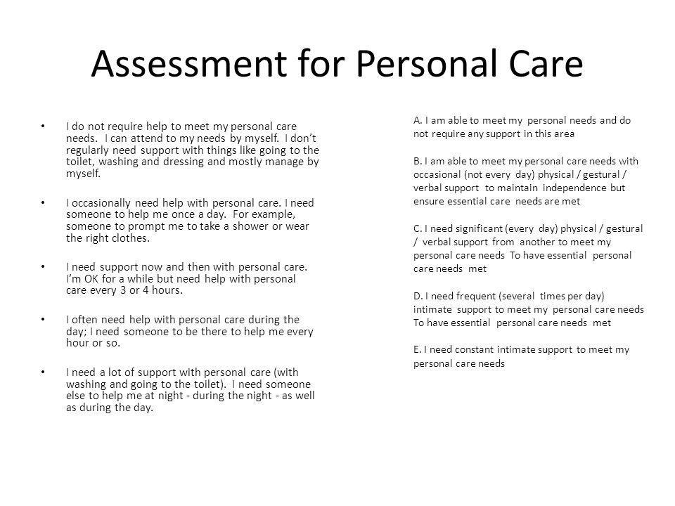 Assessment for Personal Care