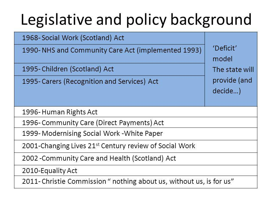 Legislative and policy background
