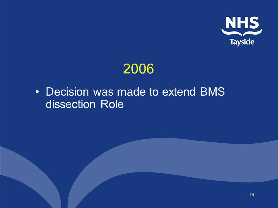 2006 Decision was made to extend BMS dissection Role