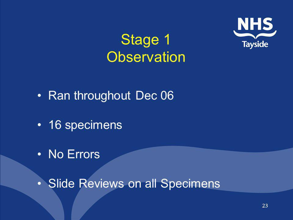 Stage 1 Observation Ran throughout Dec 06 16 specimens No Errors