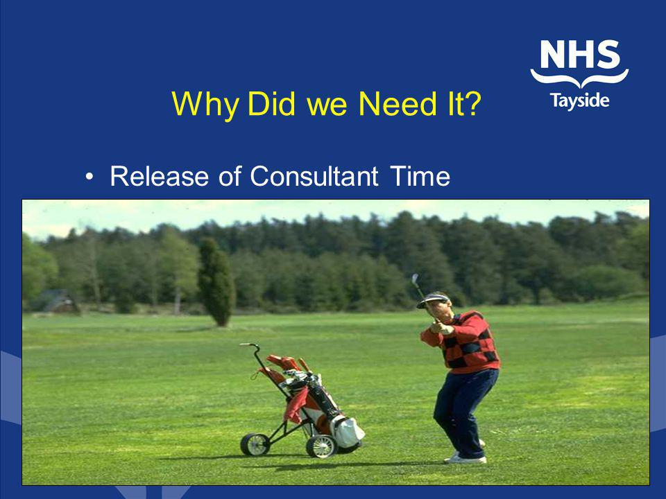 Why Did we Need It Release of Consultant Time