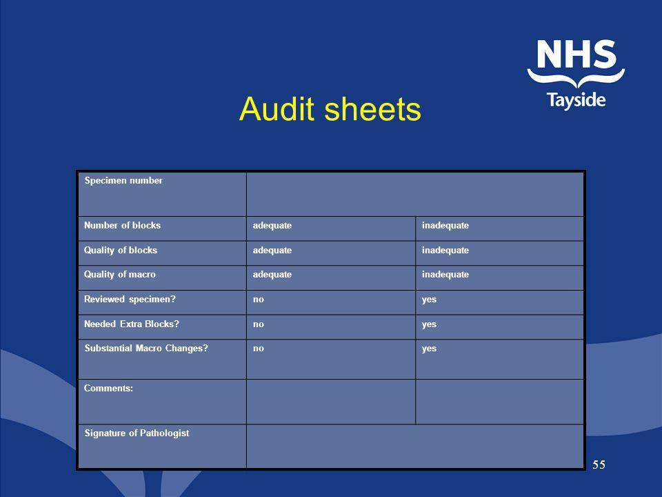 Audit sheets Specimen number Number of blocks adequate inadequate