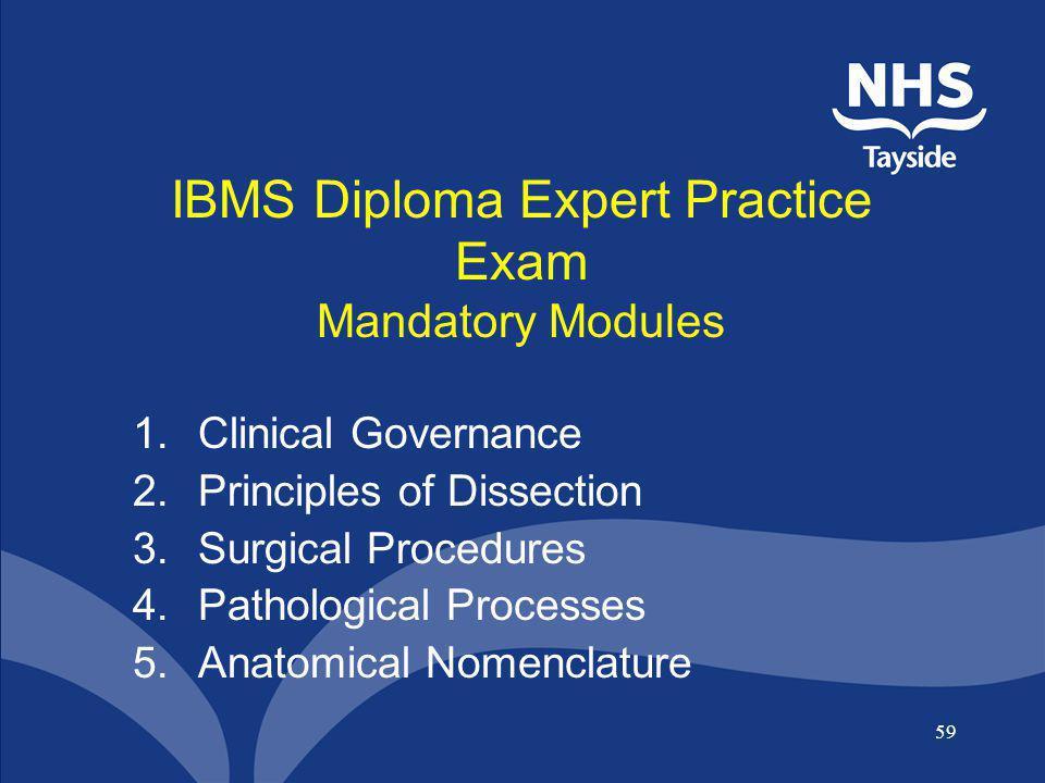 IBMS Diploma Expert Practice Exam Mandatory Modules