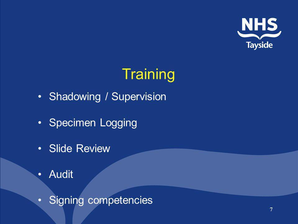Training Shadowing / Supervision Specimen Logging Slide Review Audit