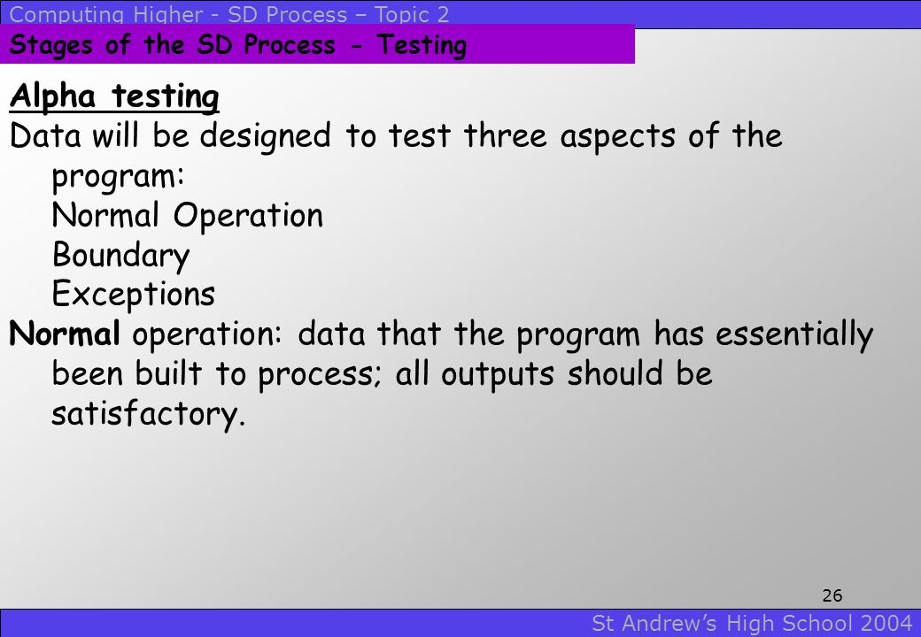 Data will be designed to test three aspects of the program: