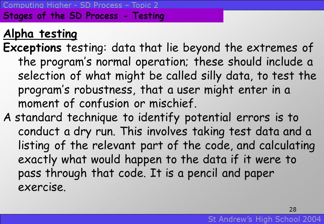 Stages of the SD Process - Testing