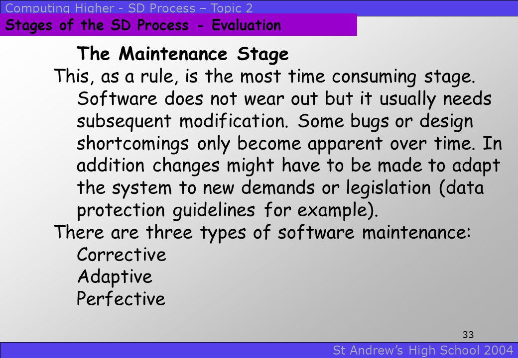 There are three types of software maintenance: Corrective Adaptive