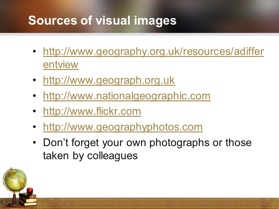 Sources of visual images