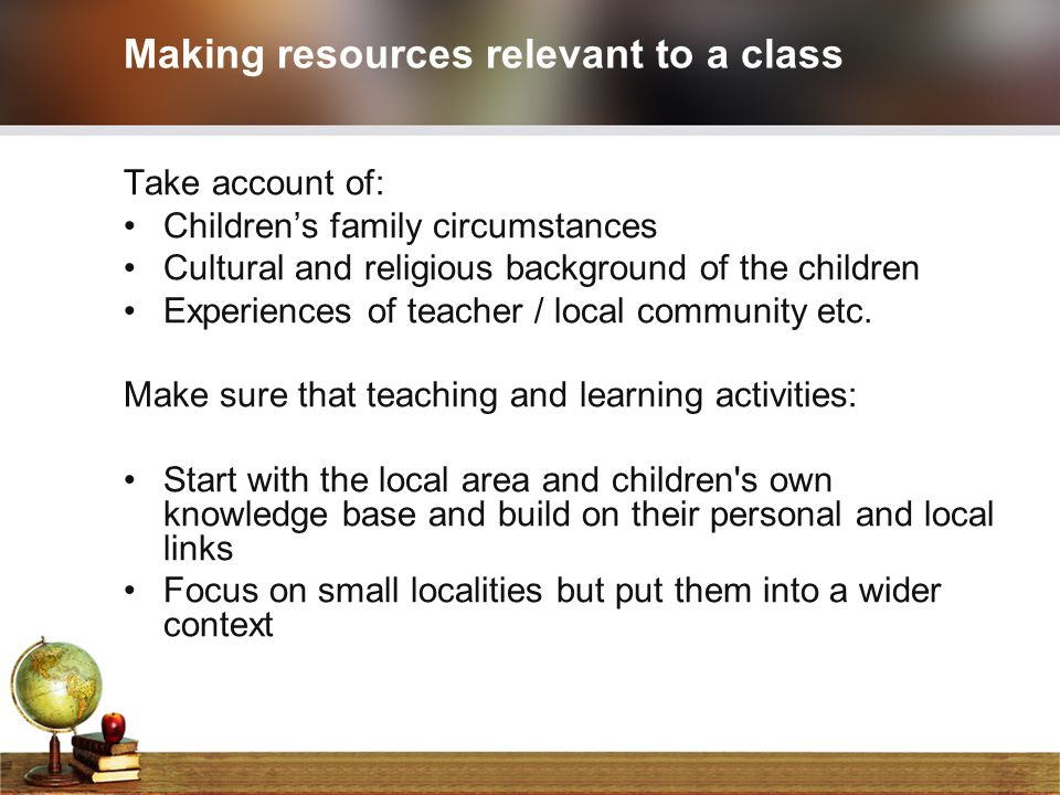 Making resources relevant to a class