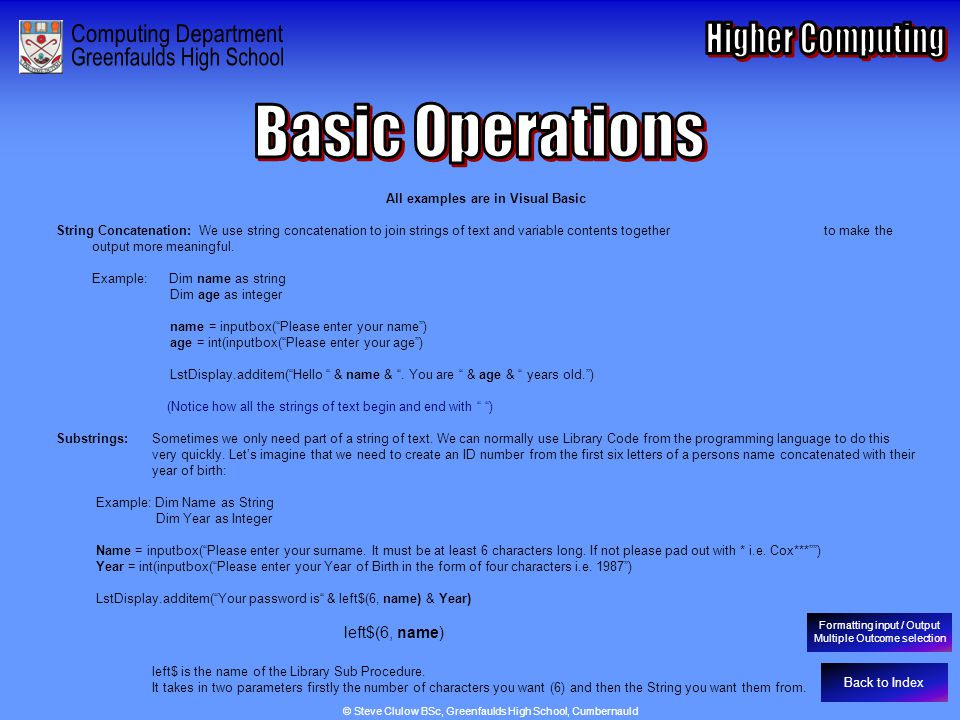Basic Operations - String Concatenation & Substrings