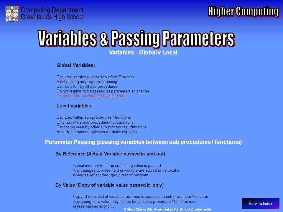Variables & Passing Parameters