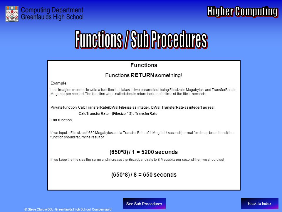 Functions / Sub Procedures - Functions