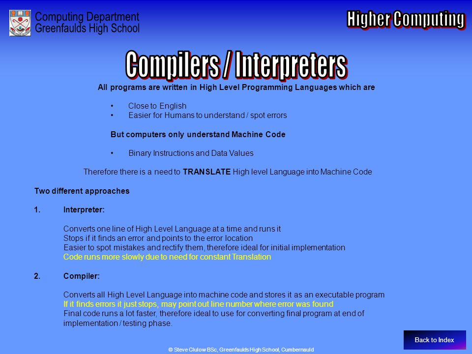 Compilers / Interpreters