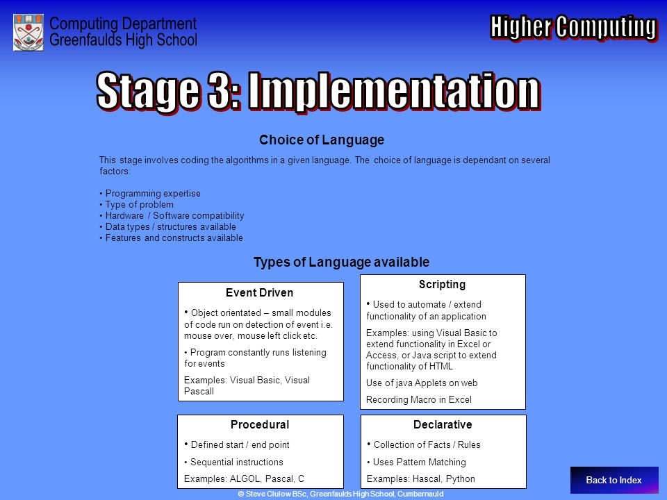 Stage 3: Implementation – Choice of Language
