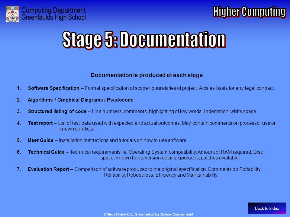 Documentation is produced at each stage