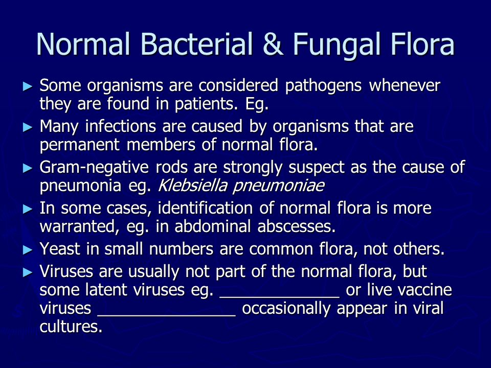 normal flora lab Beneficial effects of the normal flora the effects of the normal flora are inferred by microbiologists from experimental comparisons between germ-free animals (which are not colonized by any microbes) and conventional animals (which are colonized with a typical normal flora.