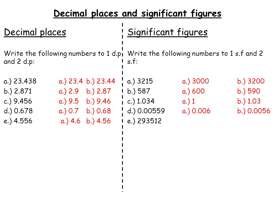 Decimal places and significant figures