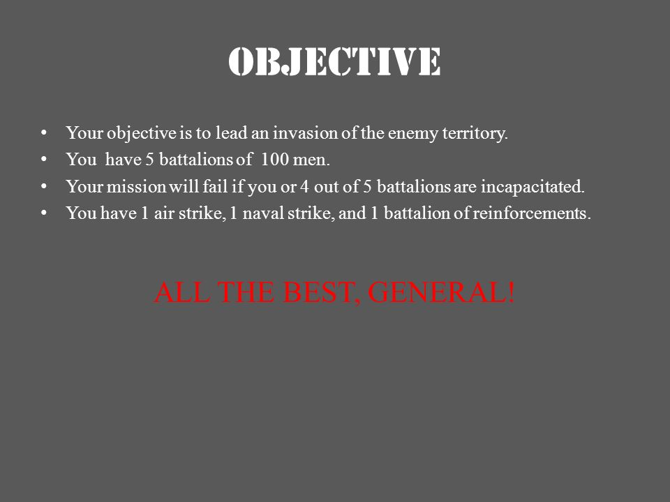 OBJECTIVE ALL THE BEST, GENERAL!