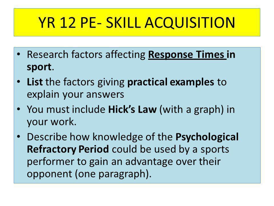 YR 12 PE- SKILL ACQUISITION