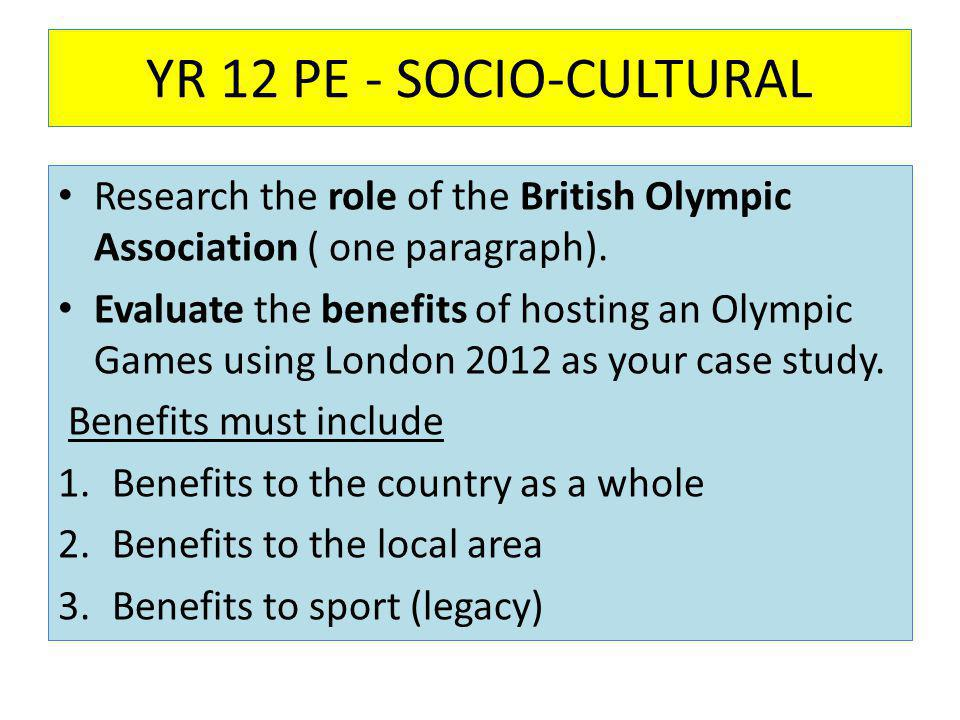YR 12 PE - SOCIO-CULTURAL Research the role of the British Olympic Association ( one paragraph).