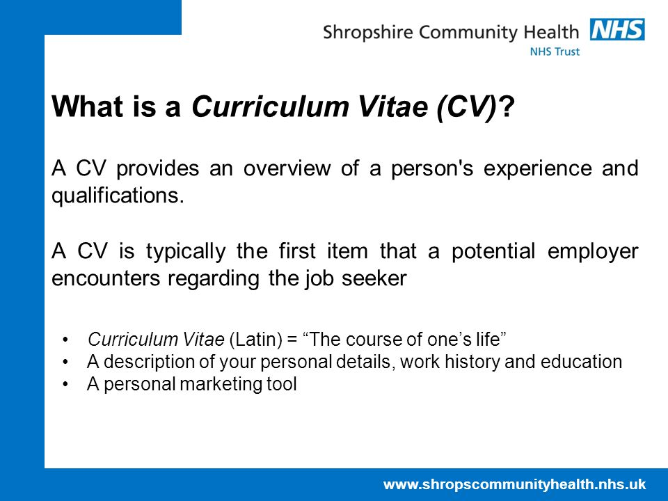 What is a Curriculum Vitae (CV)