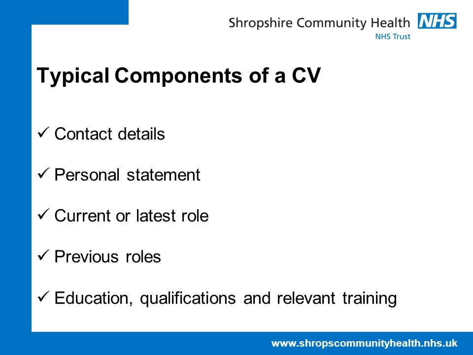 Typical Components of a CV