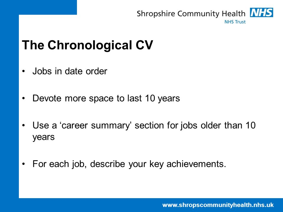 The Chronological CV Jobs in date order