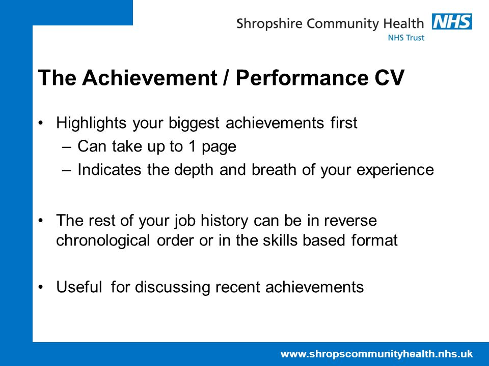 The Achievement / Performance CV