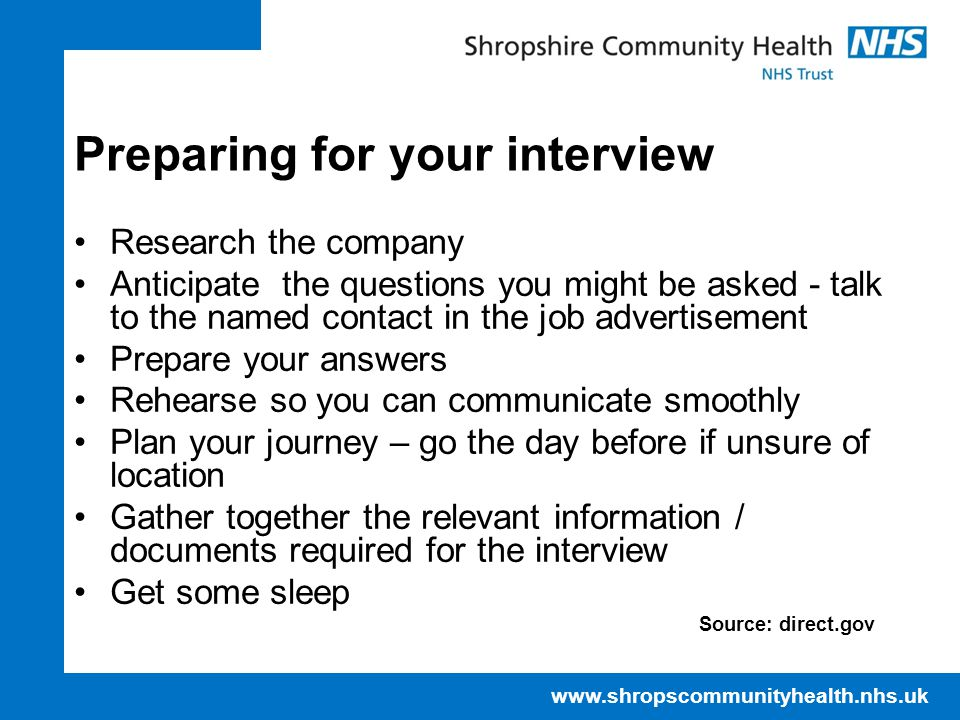 Preparing for your interview