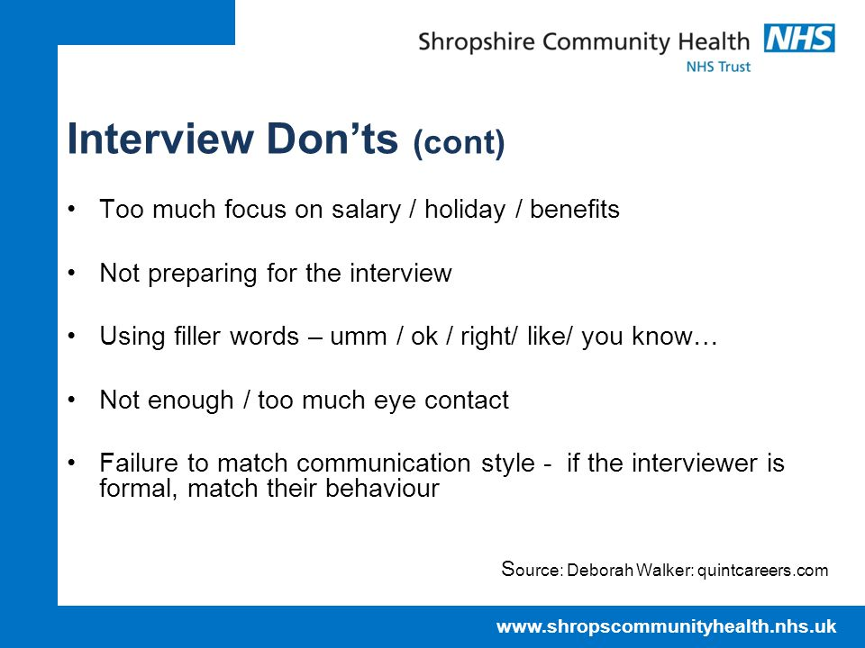 Interview Don'ts (cont)