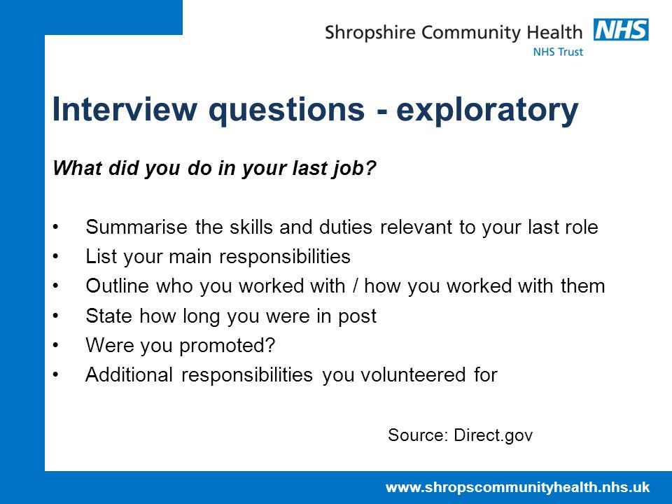 Interview questions - exploratory