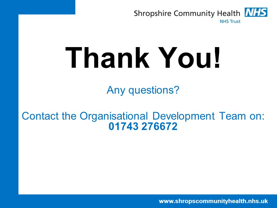 NHS IT Training Centre April 17. Thank You. Any questions.