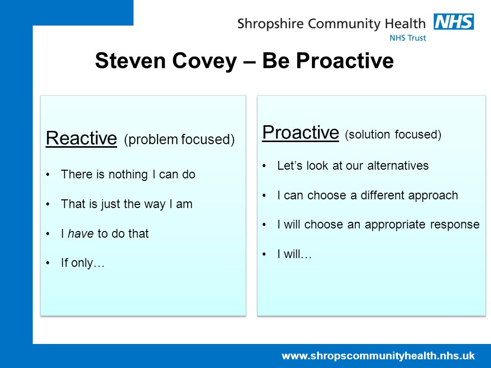 Steven Covey – Be Proactive