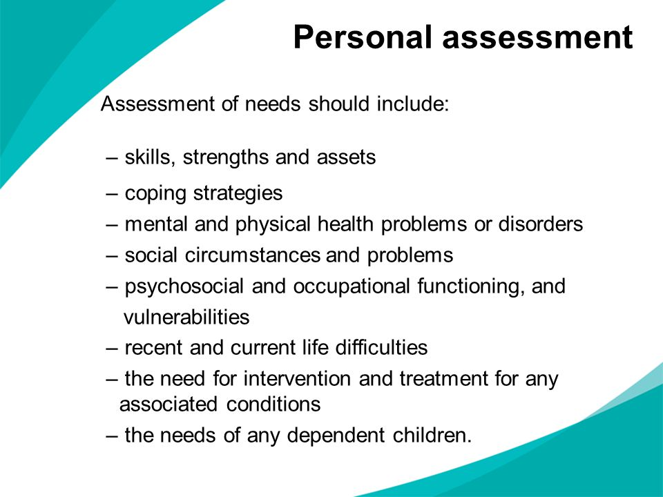 Personal assessment skills, strengths and assets coping strategies