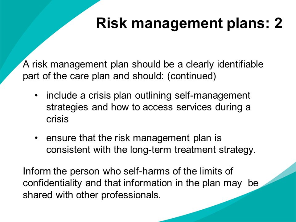 Risk management plans: 2