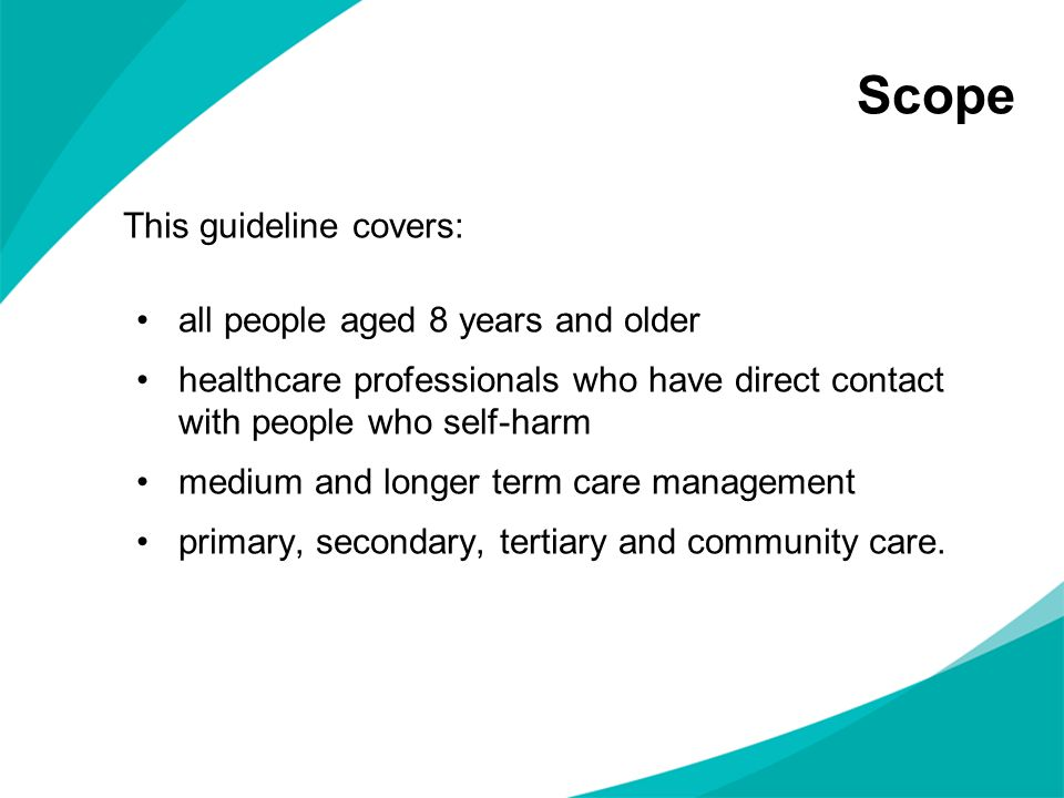 Scope This guideline covers: all people aged 8 years and older