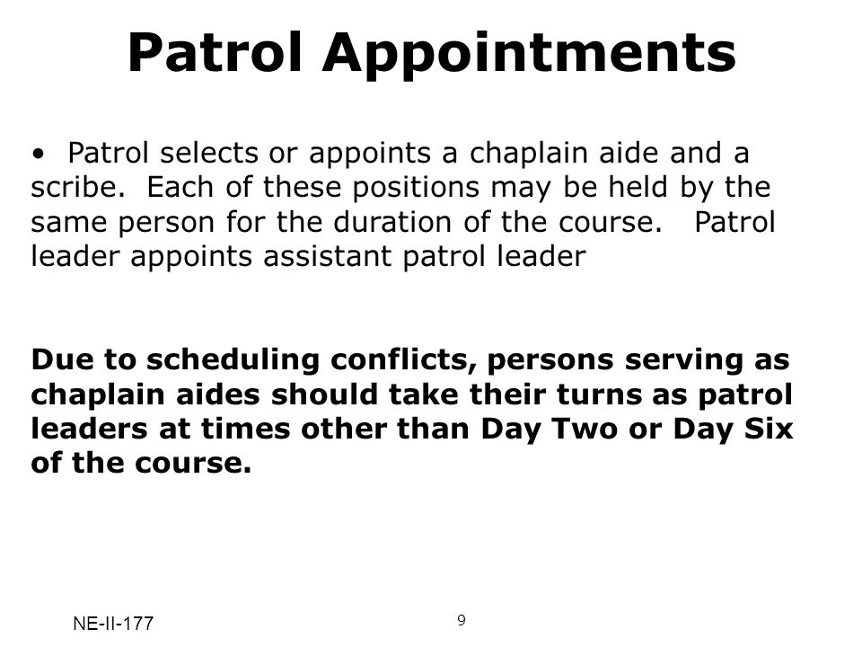 Patrol Appointments