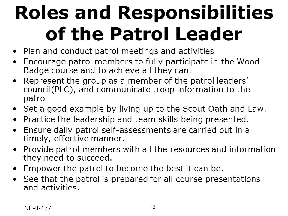 Roles and Responsibilities of the Patrol Leader